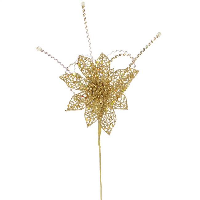 "15"" Ant Gold Glit Poinsettia Sequin Loop"