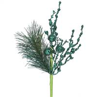 8'' Emerald Glit Sequin Berry Pine Spray