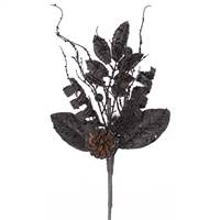 8'' Black Glit Sequin Foliage Cone Spray