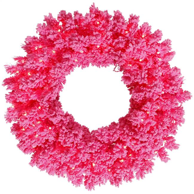 "36"" Flocked Pink Fir Wreath 100Pk  260T"