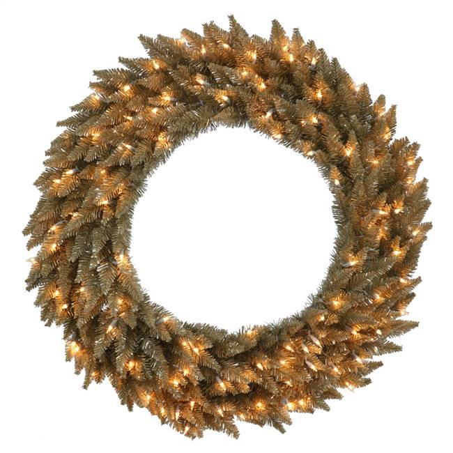 "36"" Ant Champagne Wreath DuraL LED100Ww"