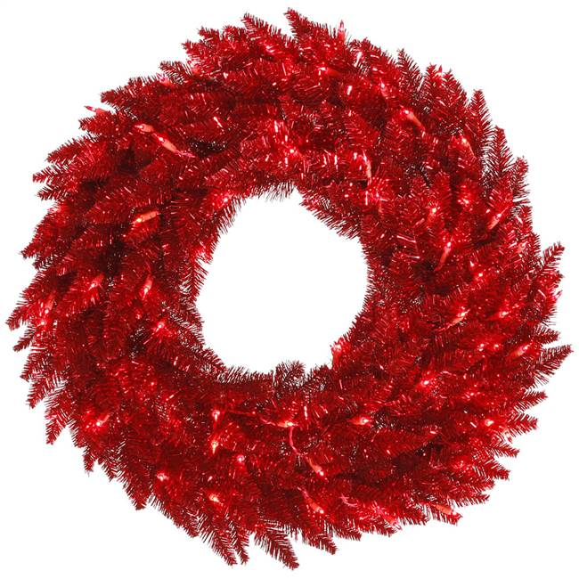 "30"" Tinsel Red Wreath DuraL LED 100Red"