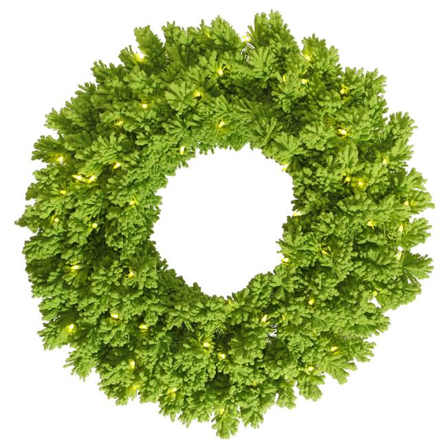 "36"" Flocked Lime Fir Wreath DuraL 100Lm"