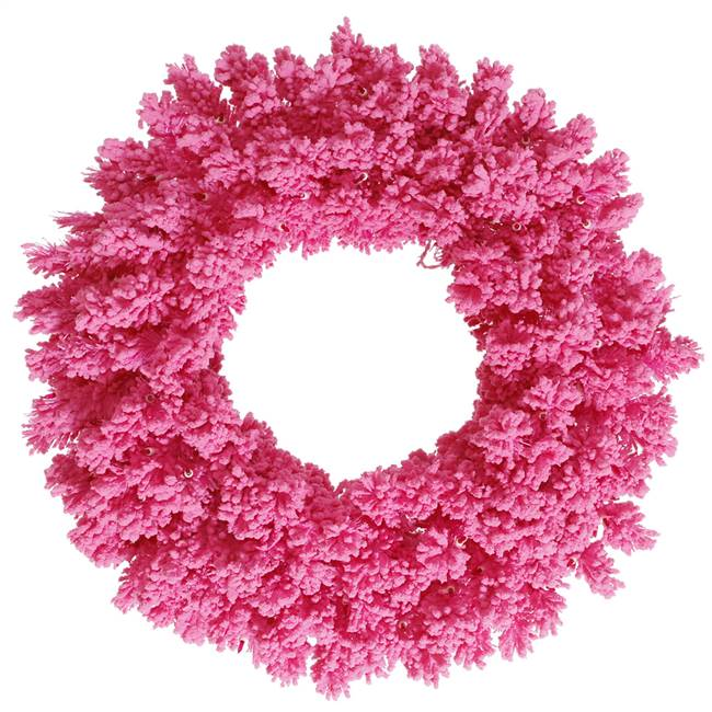 "36"" Flocked Pink Fir Wreath 260T"