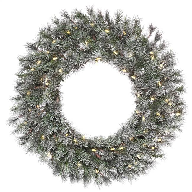 "36"" Frosted Lacey Wreath Dura-Lit 100WW"