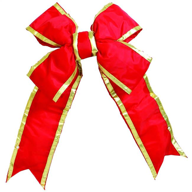 "48"" x 60"" Red-Gold Nylon Out Bow 12"" Sz"