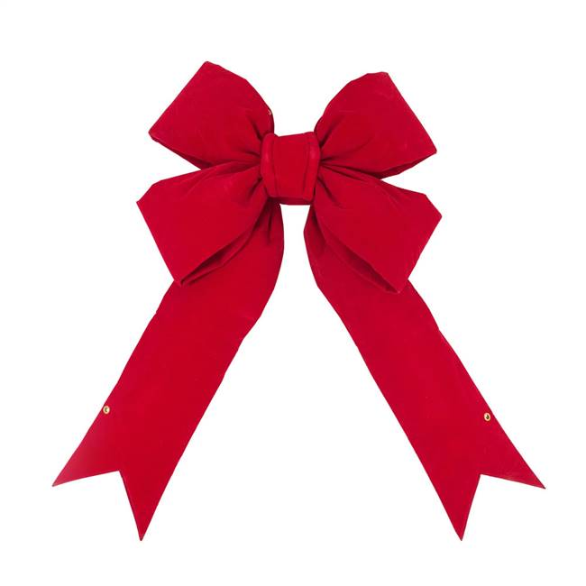 "60"" x 75"" Red Velvet Outdoor Bow 14"" Sz"