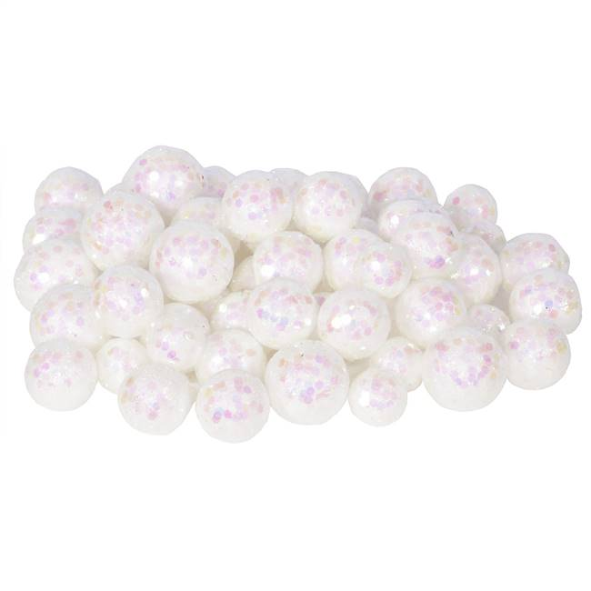20-25-30MM White Glitt Ball 72/Bag