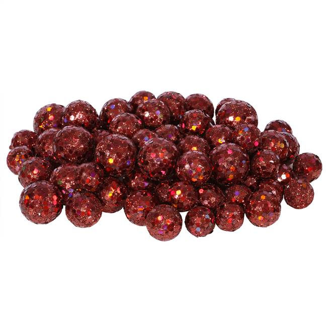 20-25-30MM Wine Glitt Ball 72/Bag