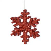 "8"" Red Outdoor Glitter Snowflake"
