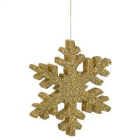 "8"" Gold Outdoor Glitter Snowflake"