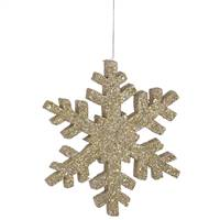 "8"" Champagne Outdoor Glitter Snowflake"