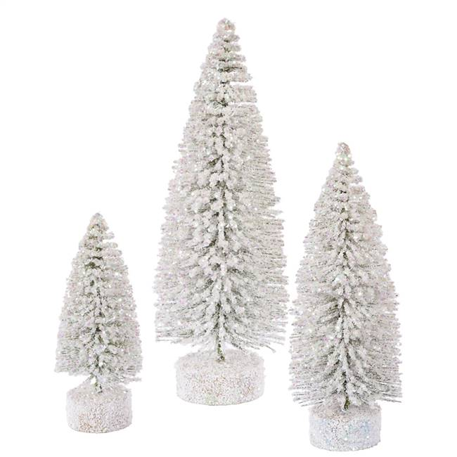 "5""-7""-9"" White Snow Oval Tree Set"