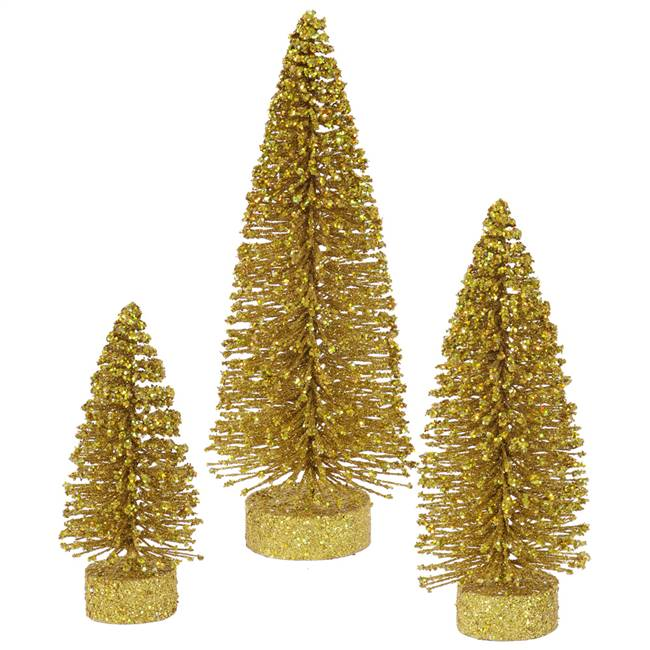 "5""-7""-9"" Gold Glitter Oval Tree Set"