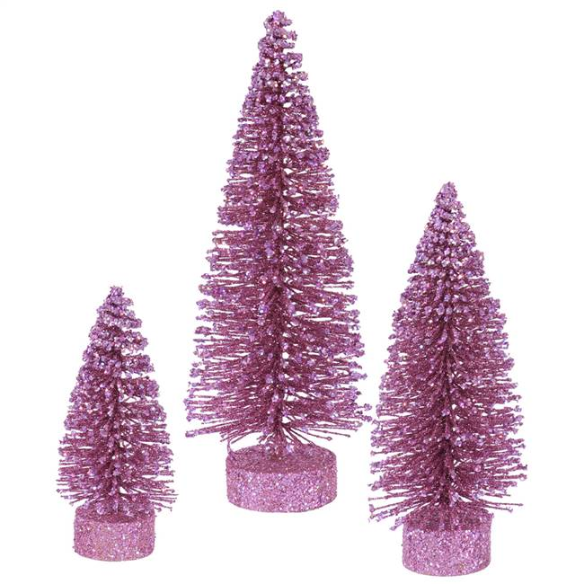 "5""-7""-9"" Orchid Glitter Oval Tree Set"