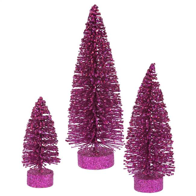 "5""-7""-9"" Magenta Glitter Oval Tree Set"