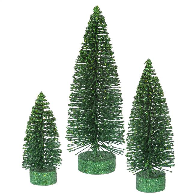 "5""-7""-9"" Emerald Glitter Oval Tree Set"
