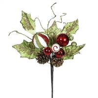 "22"" Red Jingle Bell Holly Spray 3/Bag"