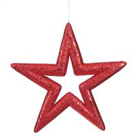 "14"" Red Glitter Star Outdoor"