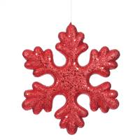 "11"" Red Glitter Snowflake Outdoor"