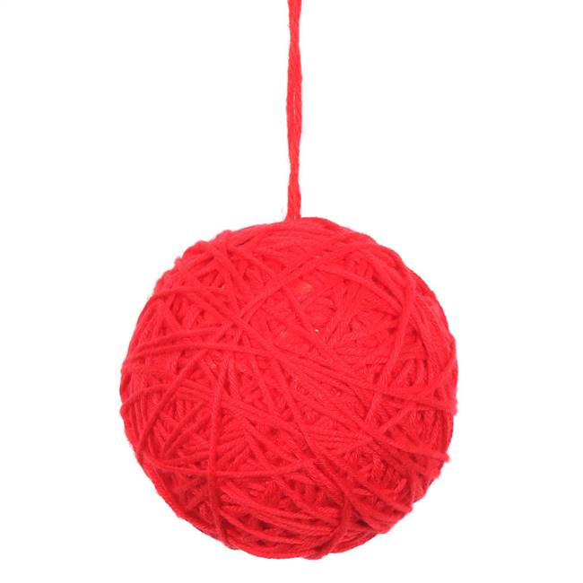 "2.4"" Red Yarn Ball Ornament 12/Bag"