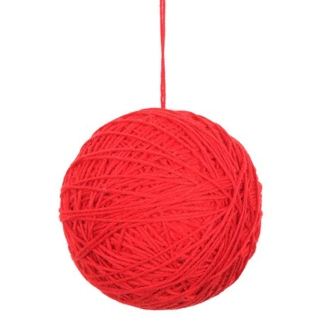 "3"" Red Yarn Ball Ornament 12/Bag"