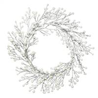 "22"" White Berry Wreath Outdoor"