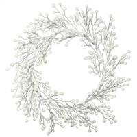 "22"" White Glitter Berry Wreath"