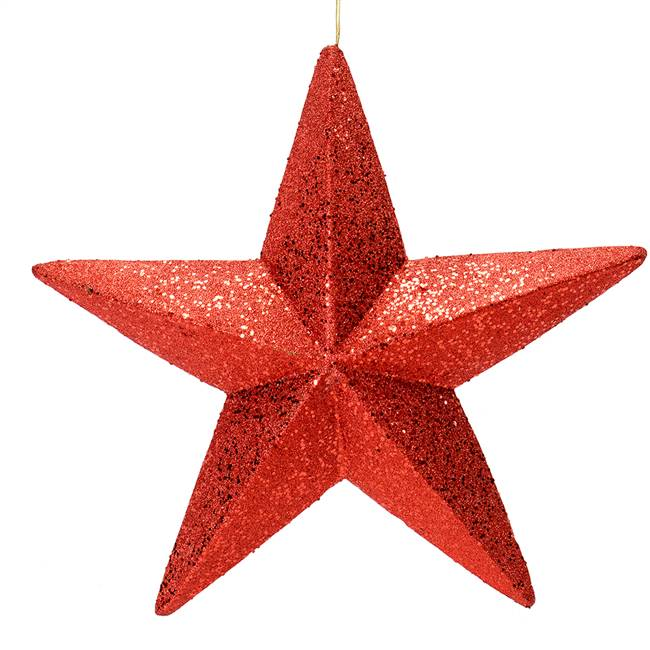 "23"" Red Glitter Star Outdoor"