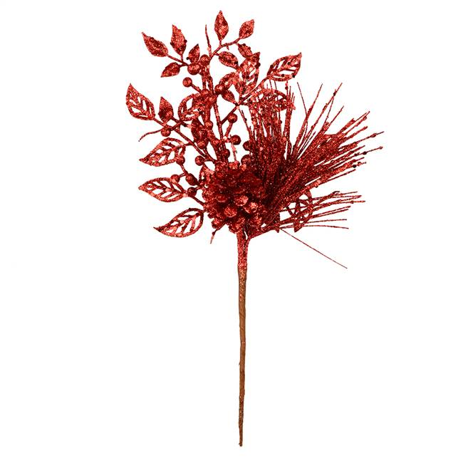 "10"" Red Pinecone Glitter Leaf Pick 12/Bg"