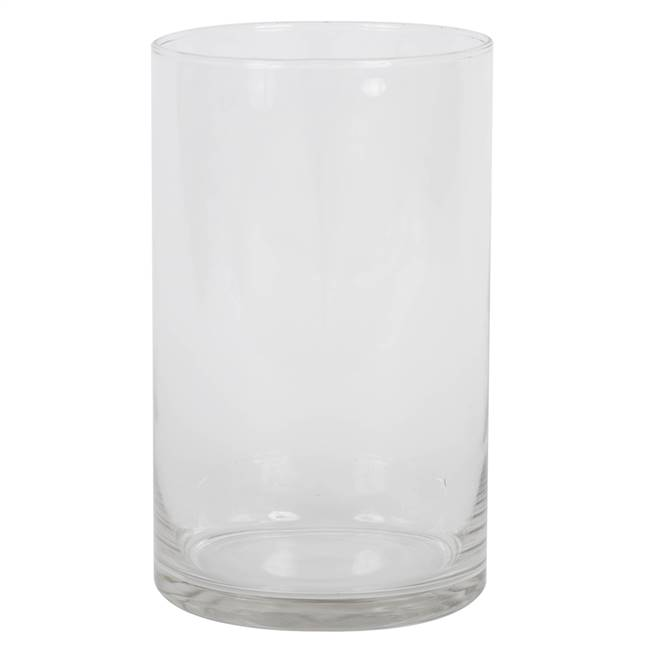 "10"" Clear Cylinder Glass Container"