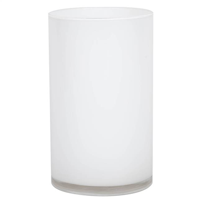 "10"" White Cylinder Glass Container"