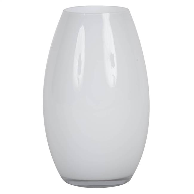 "10"" White Rounded Glass Container"