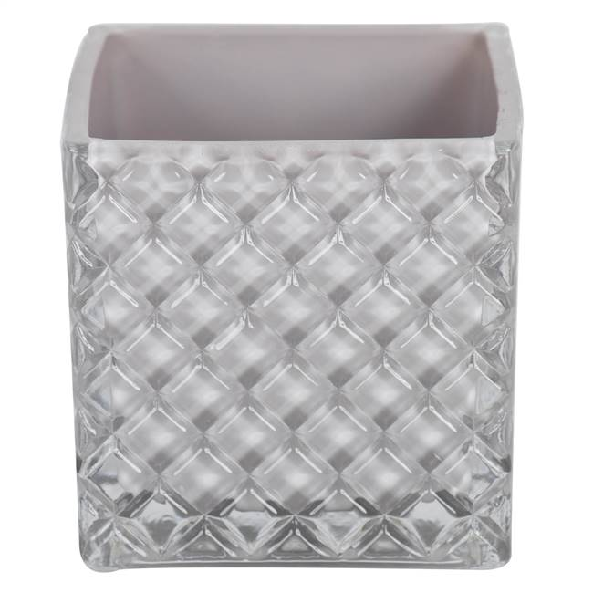"4"" Crystal Gray Square Glass Cntr Set/2"
