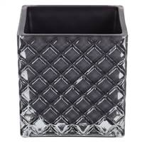 "4"" Black Square Glass Container Set/2"