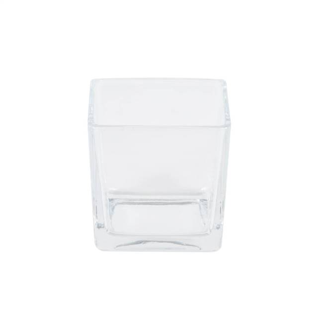 "3"" Clear Cube Glass Container Set/4"