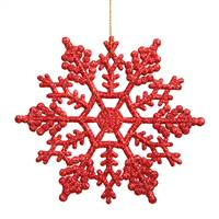"4"" Red Glitter Snowflake 24/Pvc Box"