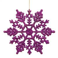 "4"" Purple Glitter Snowflake 24/Pvc Box"