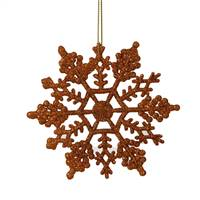 "4"" Burn Orange Glit Snowflake 24/Pvc Bx"