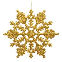 "4"" Antique Gold Glitter Snowflake 24/Pvc"