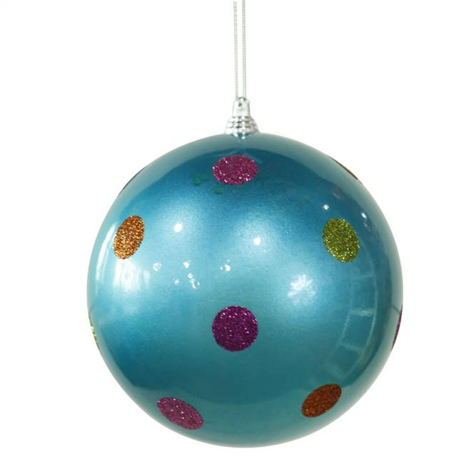 "5.5"" Turquoise Candy Polka Dot Ball"