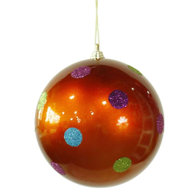 "5.5"" Burnish Orange Candy Polka Dot Ball"
