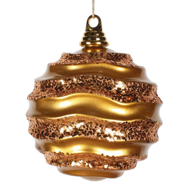 10'' Antiq Gold Candy Glitter Wave Ball