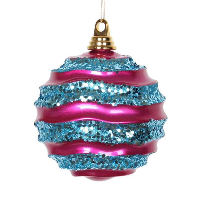 "10"" Cerise-Turq Candy Glitter Wave Ball"