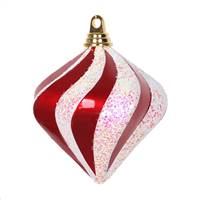 "6"" Red-White Candy Glitter Swirl Diamond"