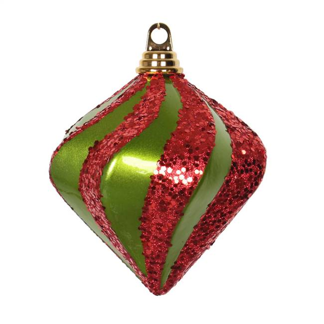 "6"" Lime-Red Candy Glitter Swirl Diamond"