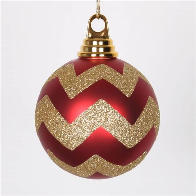 "4"" Red-Gold Matt-Glitt Chevron Ball 4/Bx"