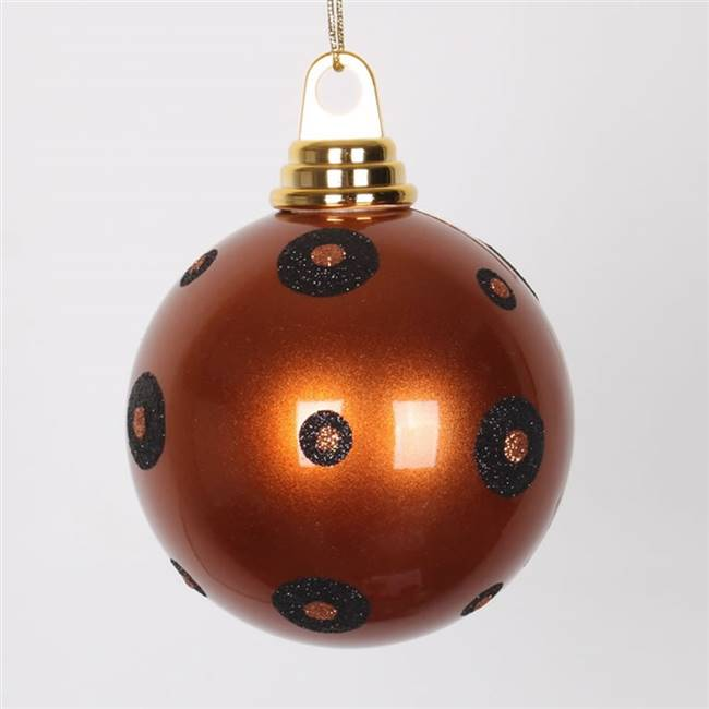 "4.75"" CopperBlk PolkaDot Candy Ball 3/Bx"