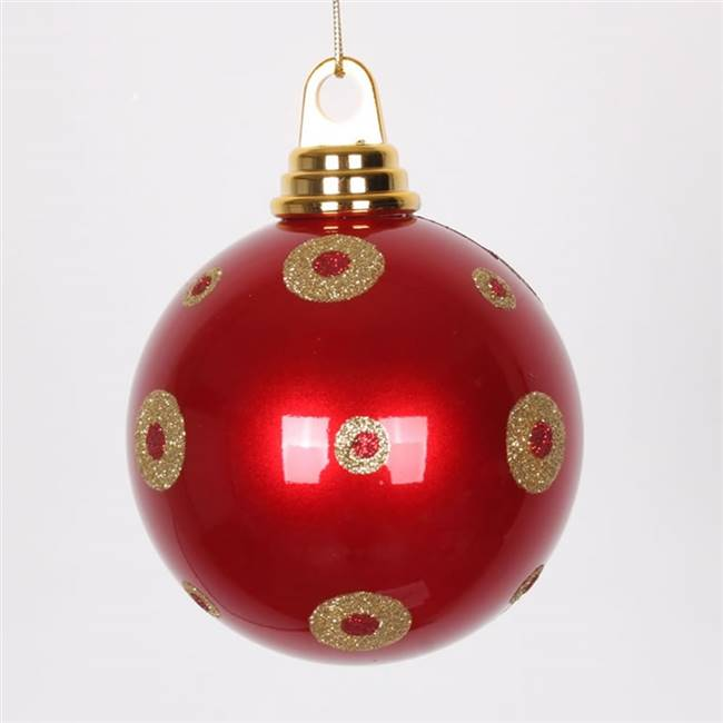 "4.75"" Red-Gold PolkaDot Candy Ball 3/Box"