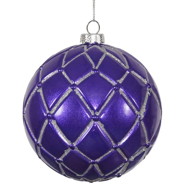 "4""  Purple  Candy Glitter Net Ball 6/Box"